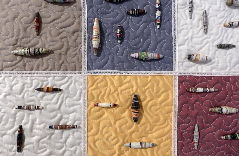 Chris Dondelinger: Perles en papier sur soie, Detail Ausstellung der Gruppe 'Cotton House Quilter' 7. Quiltfestival Luxembourg
