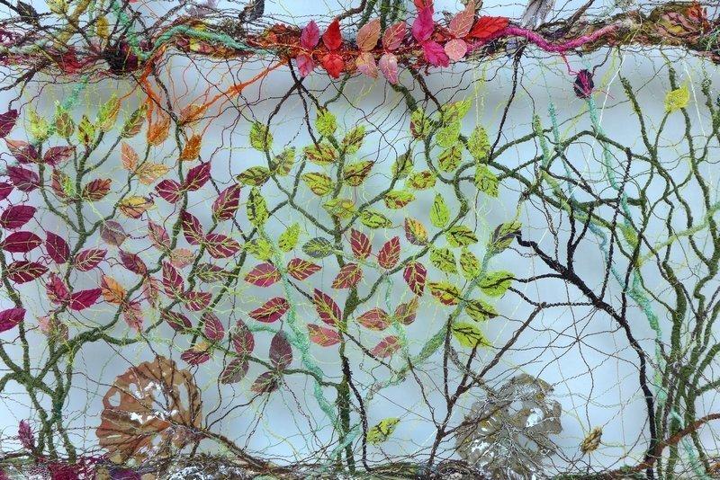 Maija Brummer: Laubfärbung, Detail Ausstellung Blumen, Blätter, Baumgeflüster NADELWELT Karlsruhe 2016