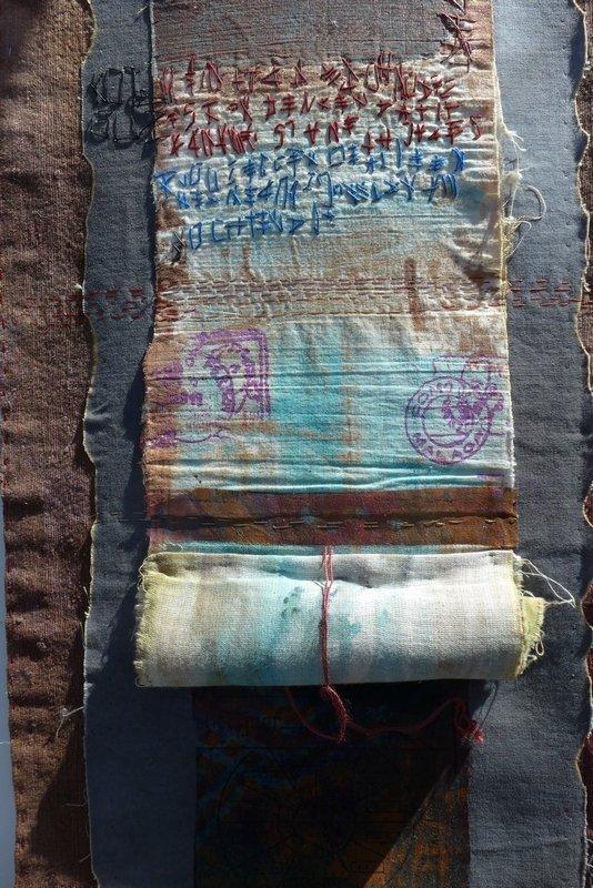 Detail der Arbeit von von Els van Baarle Ausstellung Spuren der Vergangenheit NADELWELT Karlsruhe 2016