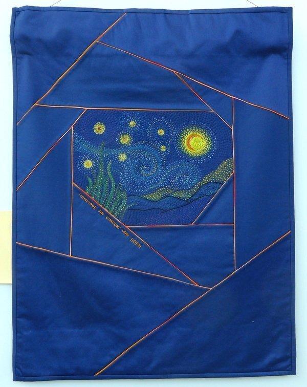 Rita Schaffer: Hommage an Vincent van Gogh Ausstellung Crazy Experimente NADELWELT Karlsruhe 2016