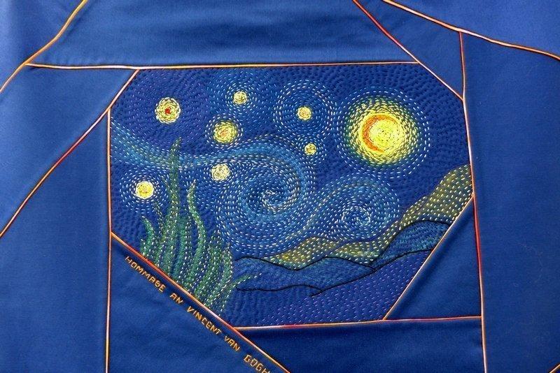 Rita Schaffer: Hommage an Vincent van Gogh, Detail Ausstellung Crazy Experimente NADELWELT Karlsruhe 2016