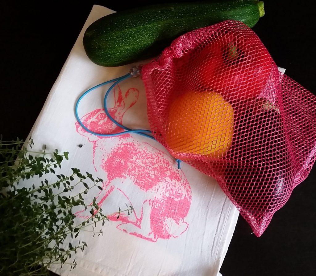 selbstgenähtes Einkaufsnetz für Obst und Gemüse