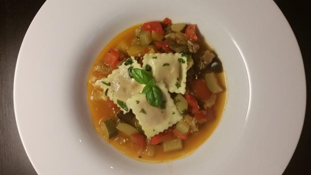 Ravioli auf Ratatouille, Rezept