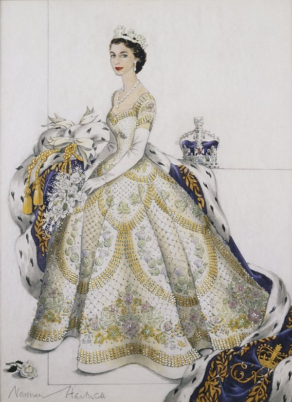 Krönungskleid, Skizze von Norman Hartnell, 1953 A Sketch of the Coronation dress, 1953, Norman Hartnell Royal Collection Trust/All Rights Reserved