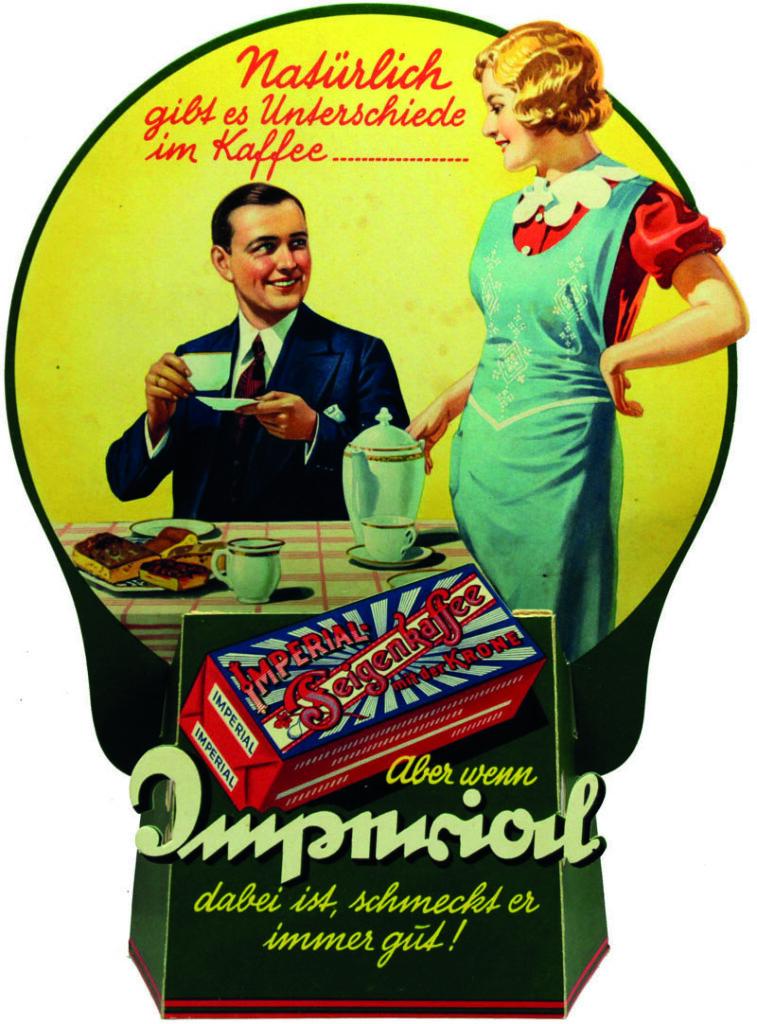Aufsteller Werbung Imperial Foto freundlicherweise vom Museum Tuch + Technik zur Verfügung gestellt