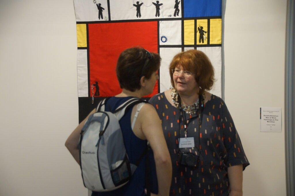 Gudrun Heinz: Konstruktivismus - Men at Work - Hommage an Piet Mondrian, Detail Ausstellung 'MÄNNER' von Gudrun Heinz & Sarah Schultz EPM 2016 Ste Marie-aux-Mines