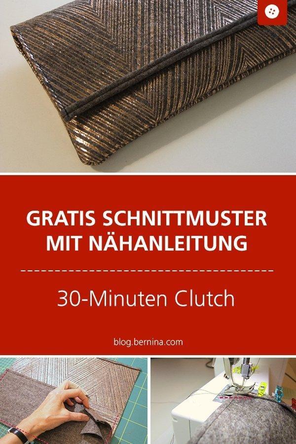 Kostenlose Nähanleitung mit Schnittmuster für eine edle Clutch #tutorial #frauen #tasche #clutch #schnittmuster #nähen #nähanleitung #diy #bernina #handtasche #festlich