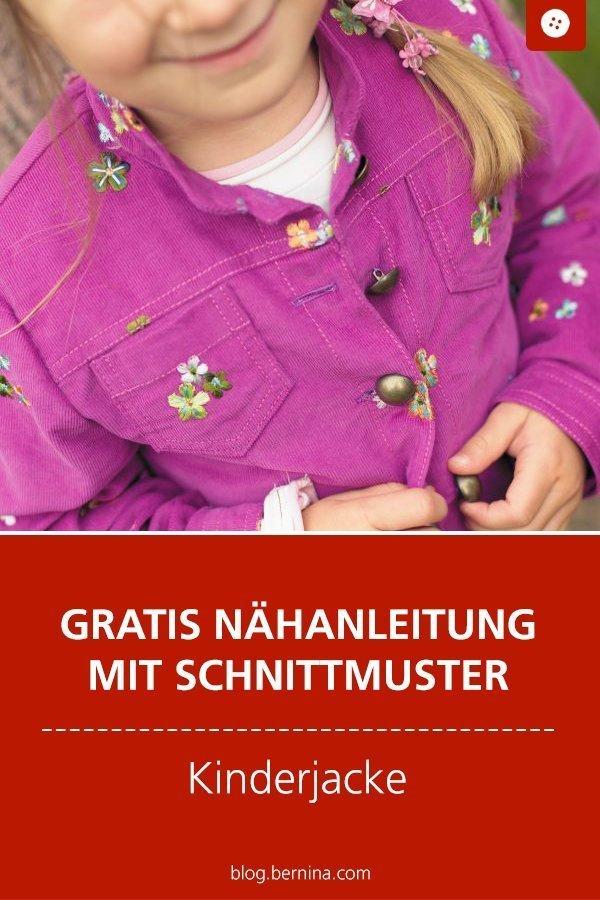Kostenloses Schnittmuster mit Nähanleitung für eine Kinderjacke  #schnittmuster #nähen #jacke #kinder #junge #mädchen #kleidung #bernina #nähanleitung #diy #tutorial #freebie #freebook #kostenlos