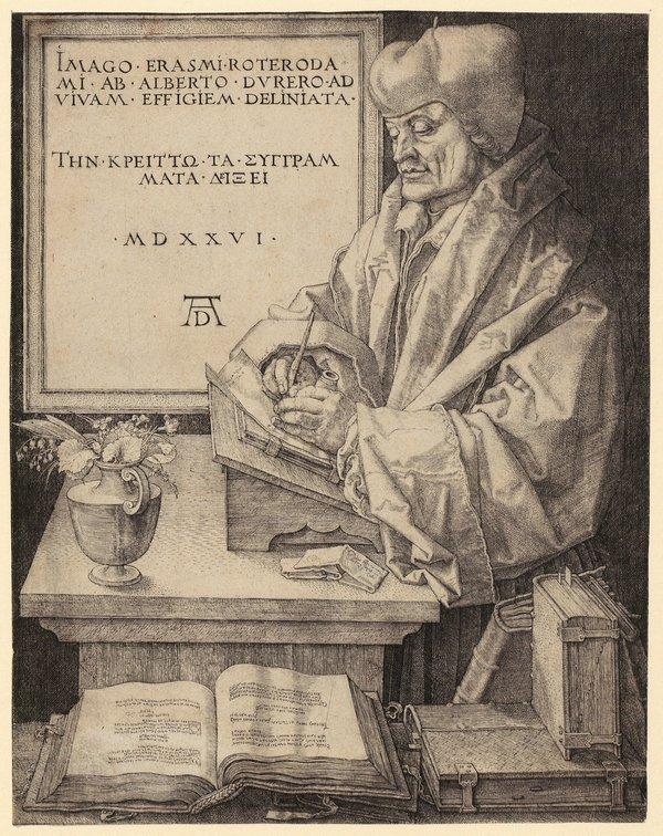 Albrecht Dürer (1471–1528), Porträt von Erasmus von Rotterdam Nürnberg (Vorstudie dazu entstand in Brüssel), 1526 Kupferstich, 24,7 x 19,2 cm Graphische Sammlung ETH Zürich, Inv.-Nr. 12877 Foto freundlicherweise vom Schweizerischen Nationalmuseum zur Verfügung gestellt.