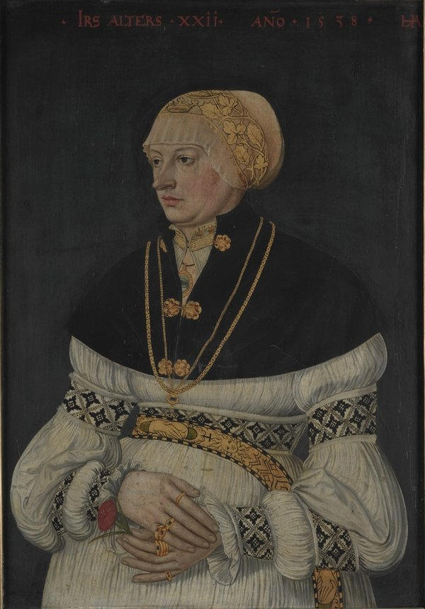 Hans Asper (um 1499-1571) Porträt von Anna Schmid-Schärer Zürich, 1538 Tempera und Öl auf Holz, 62 x 43,5 cm Schweizerisches Nationalmuseum, Inv.-Nr. LM-4766 Foto freundlicherweise vom Schweizerischen Nationalmuseum zur Verfügung gestellt.
