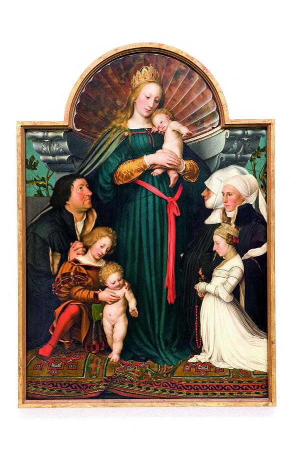 Hans Holbein d. J. Madonna des Bürgermeisters Jacob Meyer zum Hasen 1525/26 und 1528 Öl auf Nadelholz, 146,5 x 102 cm Sammlung Würth, Inv.-Nr. 14910 Foto: Philipp Schönborn Foto freundlicherweise vom Schweizerischen Nationalmuseum zur Verfügung gestellt.