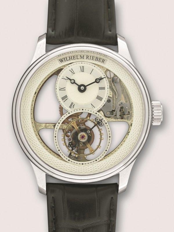 Armbanduhr mit Chronometerhemmung und fliegendem Tourbillon Wilhelm Rieber, Pforzheim, 2015 Foto freundlicherweise vom Schmuckmuseum Pforzheim zur Verfügung gestellt.