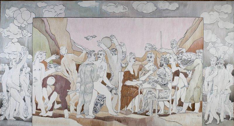 Ulrich Reimkasten: Fest der Lebensfreude, 1982 Gobelin, Wolle, 250 x 470 cm © Ulrich Reimkasten Gobelinwirkerei Foto freundlicherweise von Burg Giebichenstein Kunsthochschule Halle zur Verfügung gestellt.