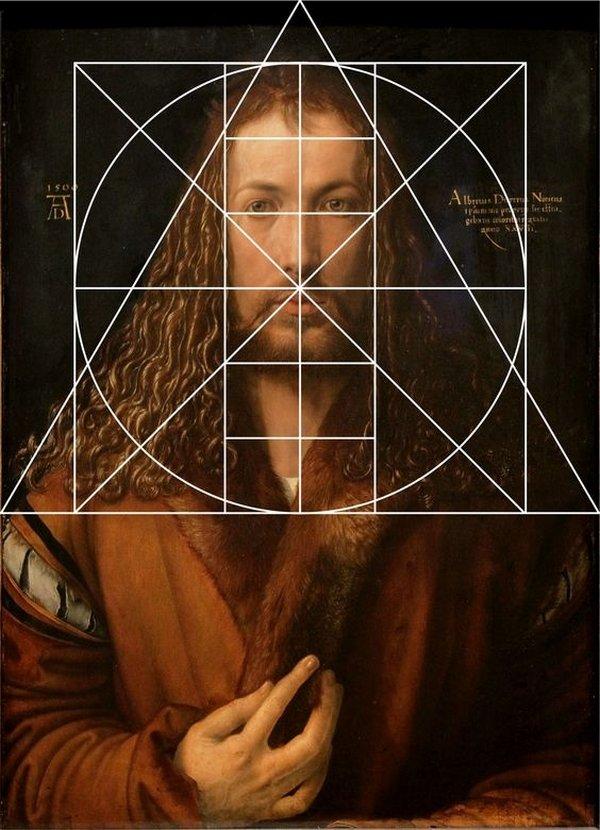 Albrecht Dürer: 'Selbstbildnis im Pelzrock', 1500 mit eingezeichneten Kompositionslinien nach F. Winzinger Wie ein Gemälde auf uns wirkt, hängt oft von Perspektive, Proportion und Symmetrie ab. In Dürers Selbstbildnis kann man folgendes Kompositionsschema erkennen: Die Basis des Dreiecks, in das sich der Kopf mit den Haaren einschreiben lässt, teilt die Bildfläche genau im Goldenen Schnitt. In der Ausstellung können die Gäste dies anhand eines Wackelbildes nachvollziehen. Foto freundlicherweise vom Museum zur Verfügung gestellt