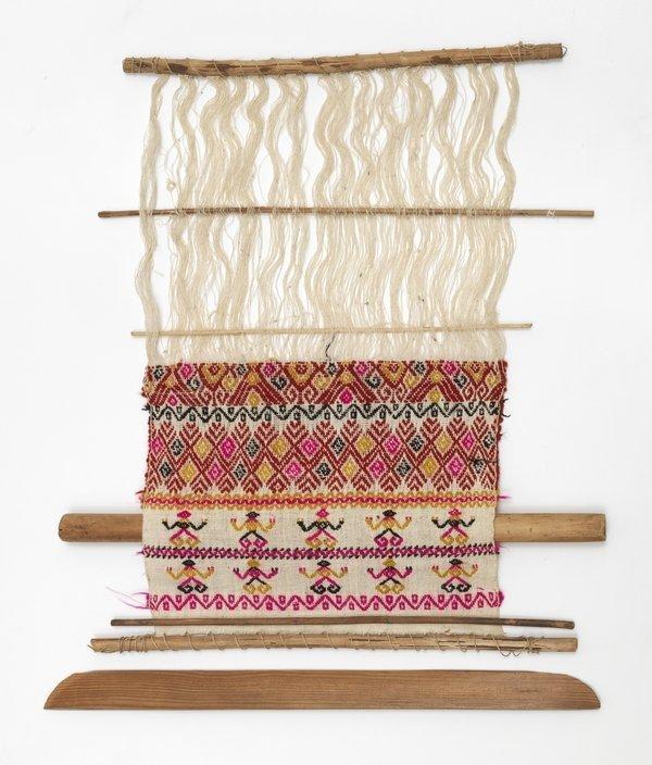Webrahmen der Maya Mam mit polychromem Werkstück Tenejapa, Chiapas, Mexiko Sammlung Weltkulturen Museum Foto: Wolfgang Günzel, 2016
