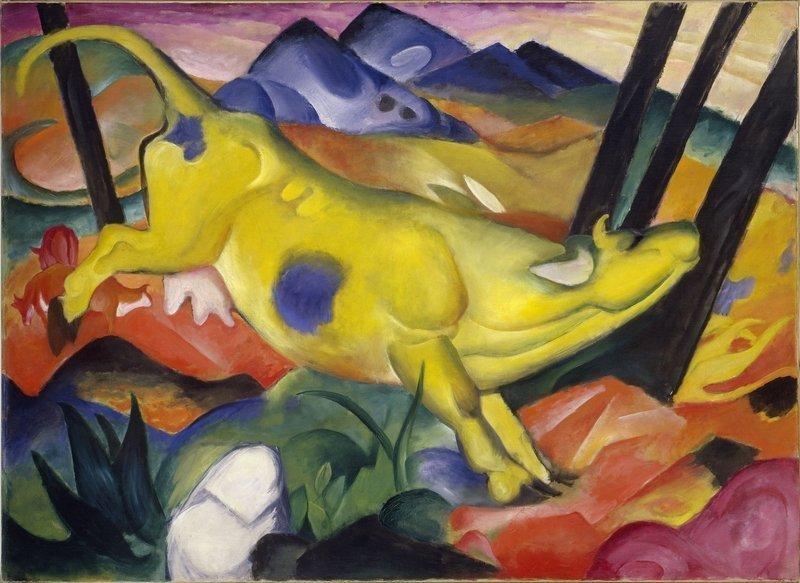 Franz Marc Die gelbe Kuh, 1911 Öl auf Leinwand, 140,5 x 189,2 cm Solomon R. Guggenheim Museum, New York, Solomon R. Guggenheim Founding Collection
