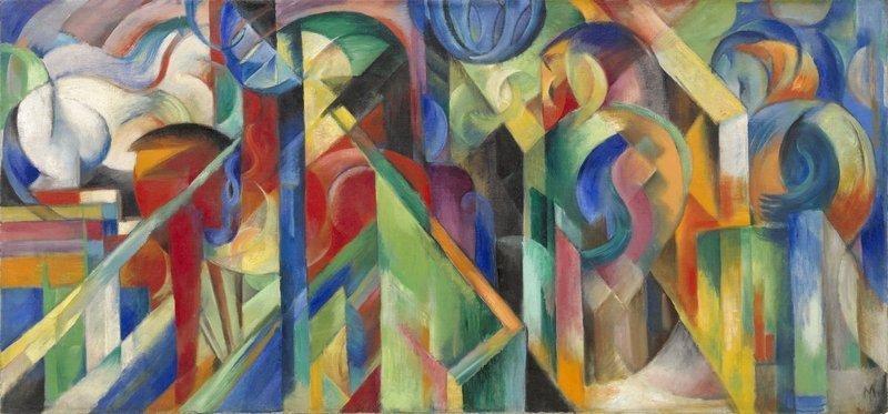 Franz Marc Stallungen, 1913 Öl auf Leinwand, 73,6 x 157,5 cm Solomon R. Guggenheim Museum, New York, Solomon R. Guggenheim Founding Collection