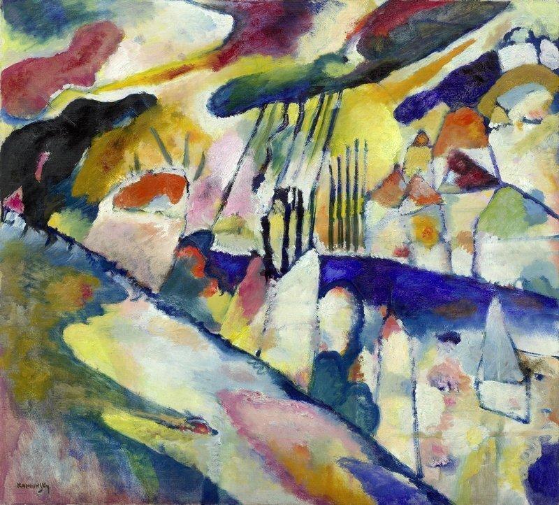Wassily Kandinsky Landschaft mit Regen, 1913 Öl auf Leinwand, 70,2 x 78,1 cm Solomon R. Guggenheim Museum, New York, Solomon R. Guggenheim Founding Collection