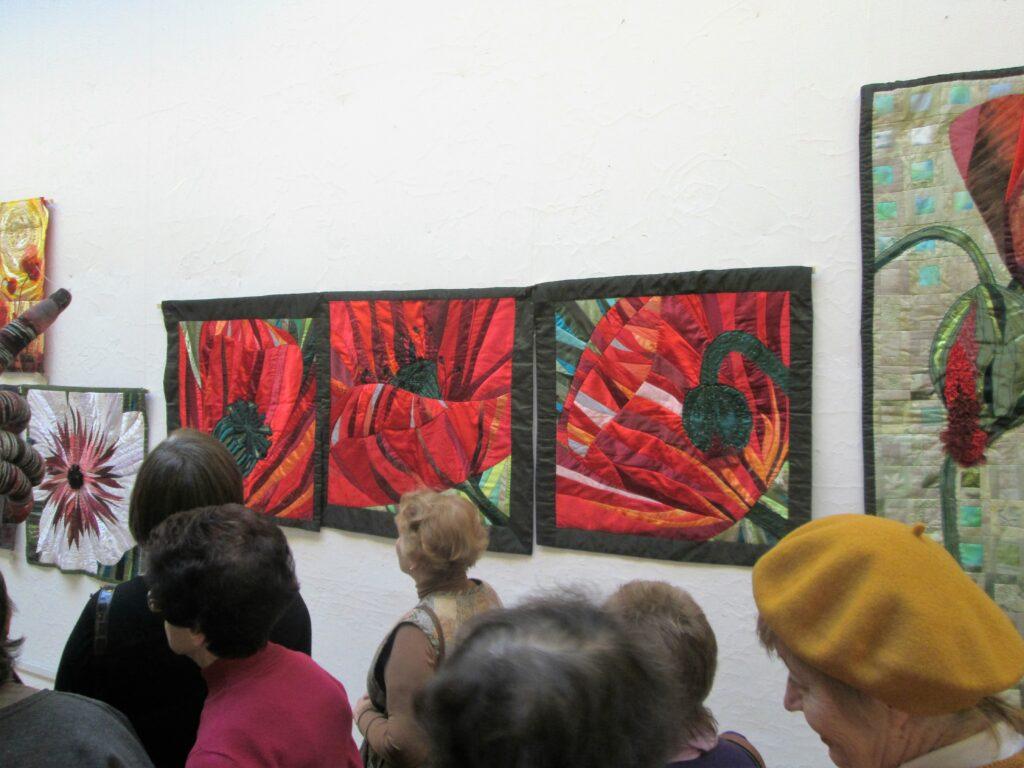 Triptychon Mohnblumen, dreimal 100x100cm