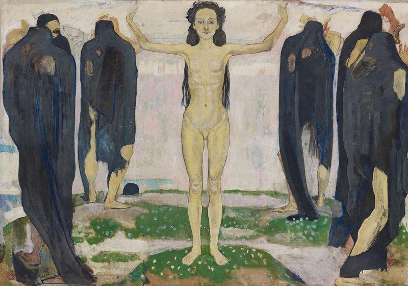 Ferdinand Hodler: Die Wahrheit 1. Fassung, 1902, Öl auf Leinwand, 196 × 273 cm Kunsthaus Zürich, Schenkung der Erben A. Rütschi, 1929