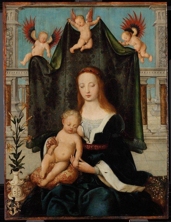 Hans Holbein d. Ä. (um 1465 Augsburg; 1524 Basel oder Isenheim): Maria mit dem schlafenden Christuskind um 1520, Öl auf Lindenholz, 73,8 × 55,9 cm Gemäldegalerie, Staatliche Museen zu Berlin, Preußischer Kulturbesitz Foto: Christoph Schmidt