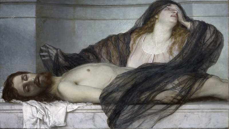Arnold Böcklin: Trauer der Maria Magdalena an der Leiche Christi 1867, Öl auf Leinwand, 84 x 149 cm Kunstmuseum Basel, Kunstmuseum Basel, Martin P. Bühler