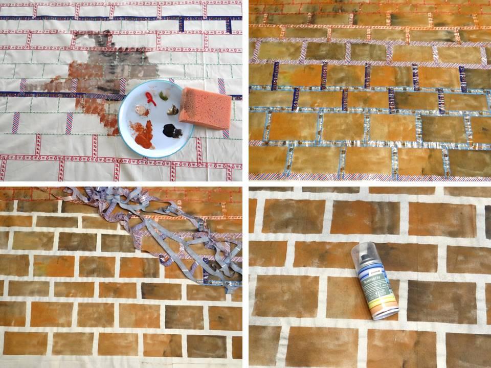 Die Mauer entsteht aus Acrylfarbe und Washitapes