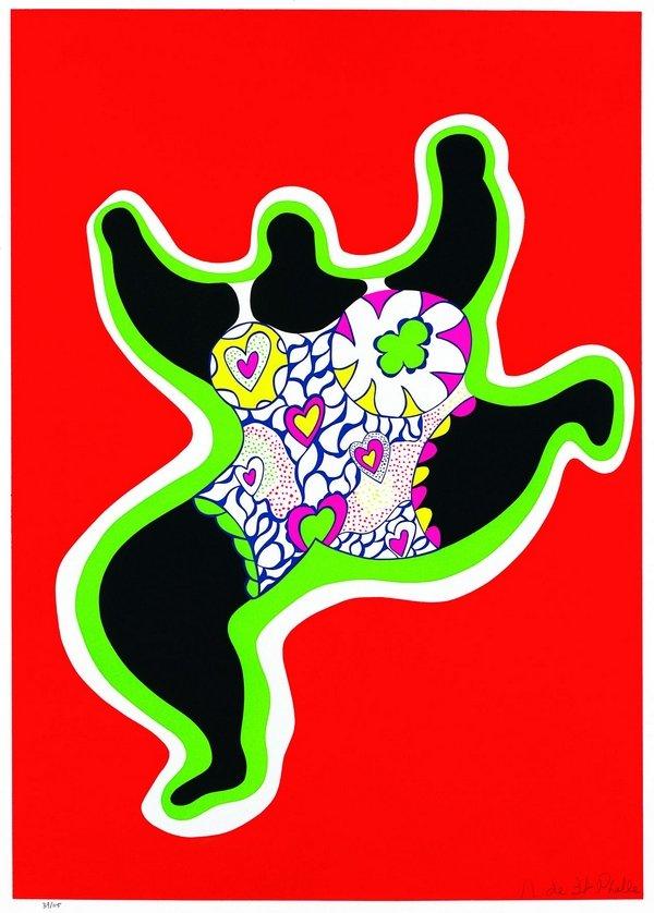 Niki de Saint Phalle: Leaping Nana (Nana Power) 1970 Siebdruck auf Vélin d'Arches Sprengel Museum, Hannover Foto: Michael Herling © 2016 Niki Charitable Art Foundation. All rights reserved.