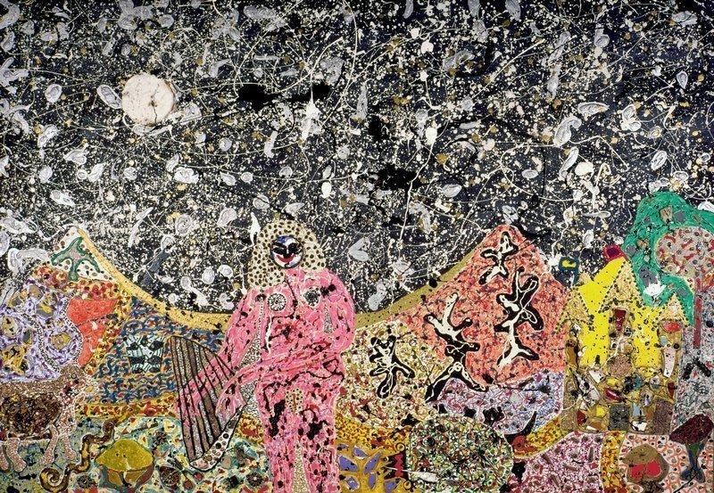 Niki de Saint Phalle: Pink Nude in Landscape 1959 Ölfarbe, kleine Fundobjekte (Fragmente von Töpferwaren, Kiesel, Kaffeebohnen, Knöpfe, Perlen, Nägel, Muscheln …) auf Holz Niki Charitable Art Foundation, Santee Foto: Laurent Condominas © 2016 Niki Charitable Art Foundation. All rights reserved.
