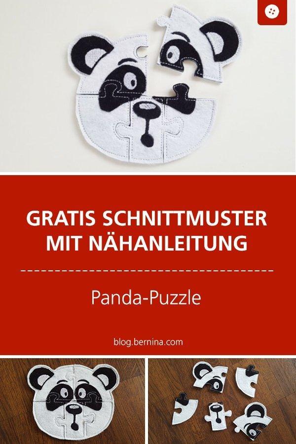 Gratis Stickanleitung & Nähanleitung: Panda-Puzzle #stickdatei #stickmuster #stickvorlage #tiere #panda #puzzle  #sticken #nähen #bernina #vorlage #diy #tutorial #freebie