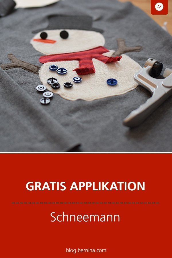 Gratis Applikationsvorlage: Schneemann Freebie  #applikation #schneemann #kinder #winter #weihnachten  #geschenk #xmas #nähen #bernina #vorlage #diy #tutorial #freebie