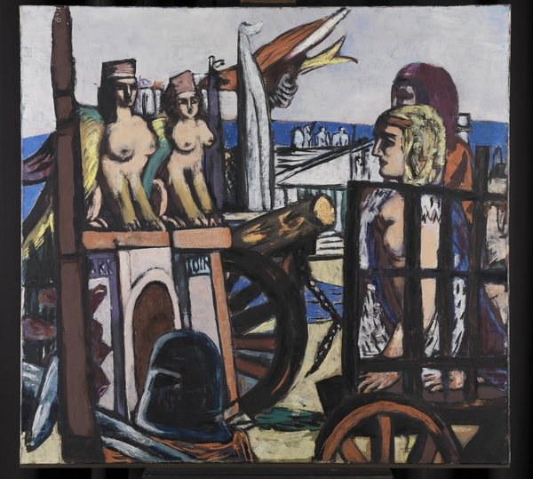 Max Beckmann: Der Abtransport der Sphinxe 1945 Öl auf Leinwand, 130,5 x 140,5 cm Staatliche Kunsthalle, Karlsruhe © VG Bild-Kunst, Bonn 2016
