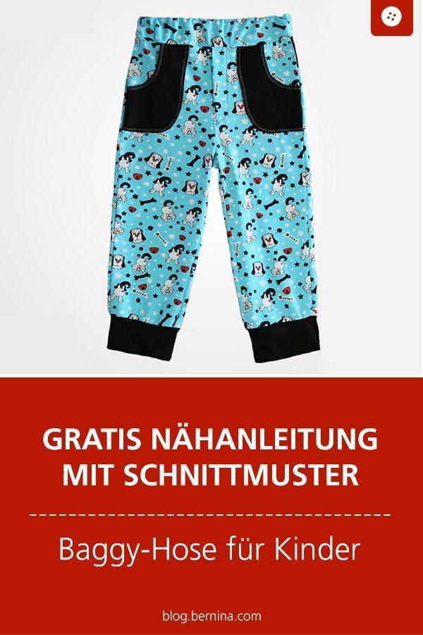 Kostenloses Schnittmuster mit Nähanleitung für eine Baggy-Kinderhose #schnittmuster #nähen #hose #baggy #kinder #bernina #nähanleitung #diy #tutorial #freebie #freebook #kostenlos