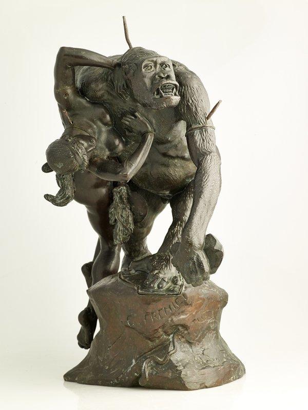 Emmanuel Frémiet (1824–1910): Gorilla, eine Frau raubend 1887 Bronze, 44,5 x 26,5 x 40 cm Musée des Beaux-Arts de Dijon Foto: © Direction des Musées et du Patrimoine de Dijon/François Jay