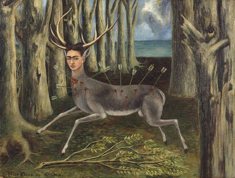 Frida Kahlo (1907–1954): Der kleine Hirsch 1946 Öl auf Hartfaser, 22,5 x 30,2 cm Privatbesitz © Banco de Mexicó, Diego Rivera Frida Kahlo Museums Trust / VG Bild-Kunst, Bonn 2016