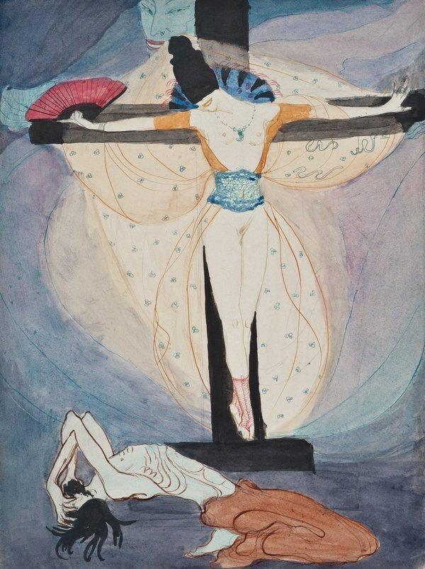 Jeanne Mammen (1890–1976): Frau am Kreuz um 1908–1914 Aquarell, Bleistift und Tusche, 31,2 x 23,5 cm Jeanne-Mammen-Stiftung, Berlin © VG Bild-Kunst, Bonn 2016 Foto: © 2016 Reschke, Steffens & Kruse, Berlin/Köln