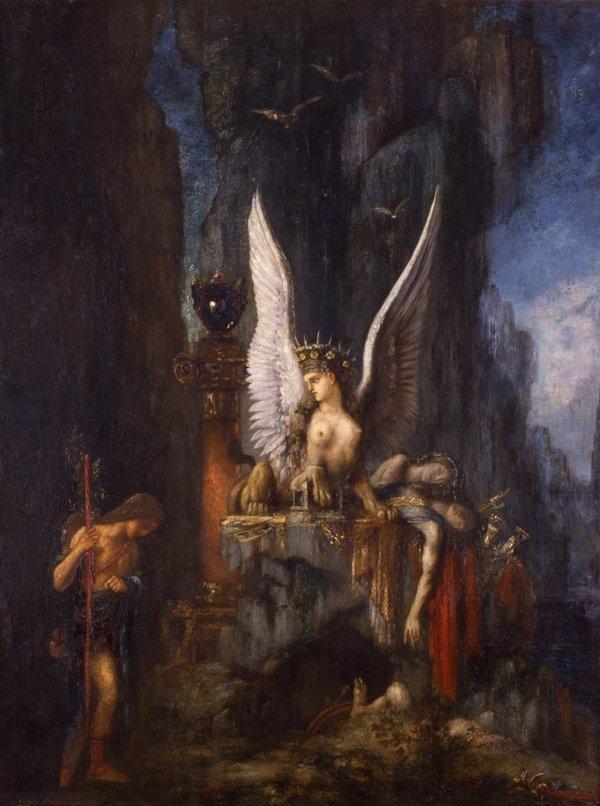 Gustave Moreau (1826–1898) Ödipus auf Reisen oder Die Gleichheit vor dem Tod, um 1888 Öl auf Leinwand, 125 x 95 cm Musée de La Cour d'Or – Metz Métropole Foto: Laurianne Kieffer – Musée de La Cour d'Or – Metz Métropole