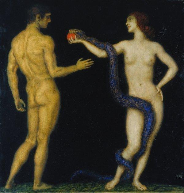Franz von Stuck (1863–1928): Adam und Eva 1920–1926 Öl auf Holz, 98 x 93,5 cm Städel Museum, Frankfurt am Main Foto: Städel Museum – ARTOTHEK