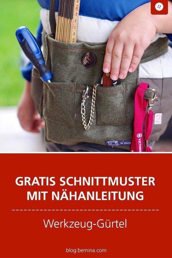 Kostenlose Nähanleitung mit Schnittmuster für einen Kinder-Werkzeuggürtel #tutorial #kinder #spielen #werkzeug #spielzeug #nähen #nähanleitung #diy #bernina