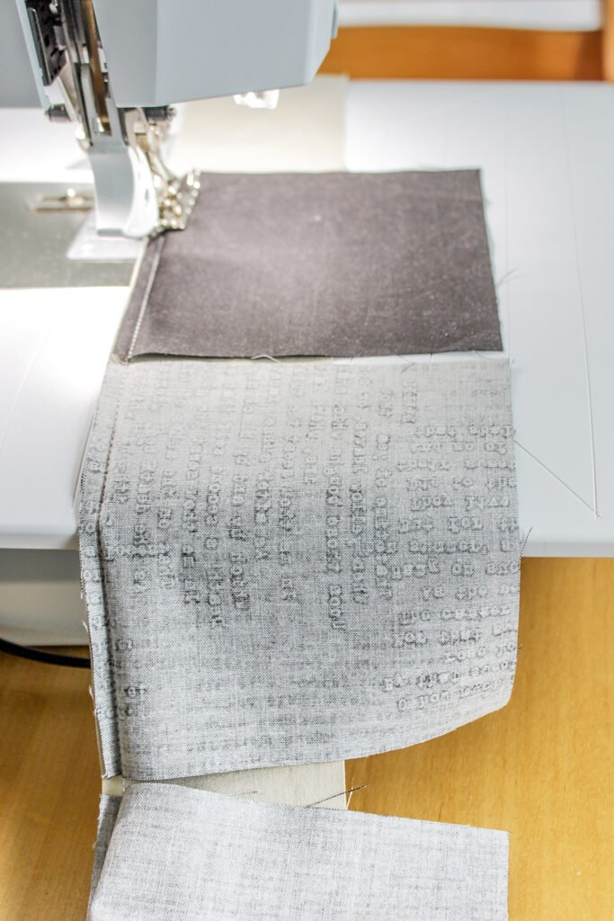 Chain piecing, Charm squares, Bernina , Zen Chic quilt