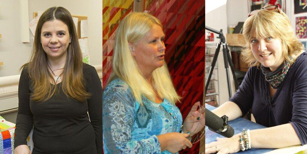 Die Jury des Langarm-Quiltwettbewerbes (von links): Alfonsina Uriburu, Merete Ellingsen und Linzi Upton