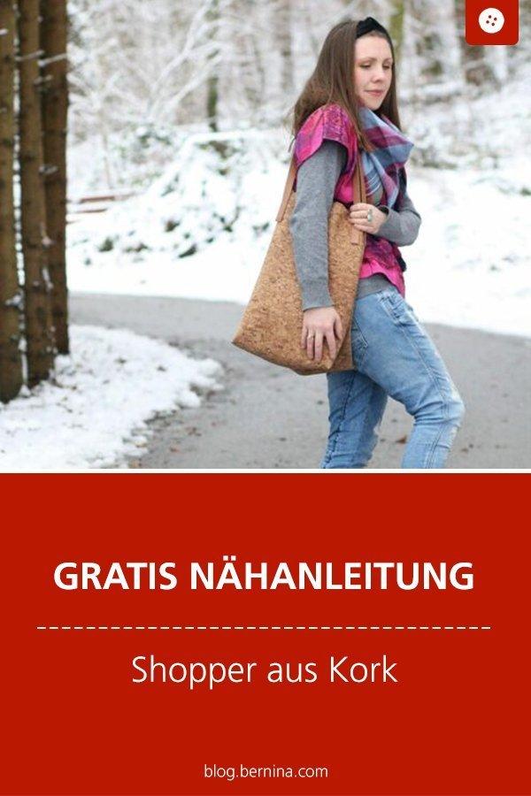 Kostenlose Nähanleitung : Shopper aus Kork nähen #shopper #taschenähen #schnittmuster #nähenmachtglücklich #nähen #nähenfürmich #tutorial #freebook #freebie #kostenlos #nähanleitung #diy #bernina #sewing
