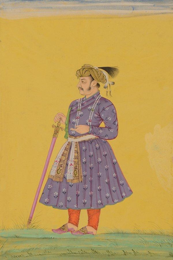Jahangir (reg. 1605–27) Dekkan (Golkonda) spätes 17./frühes 18. Jahrhundert Wasserfarben und Gold, Bild: 211 x 141 mm Kupferstich-Kabinett, © SKD Foto: Andreas Diesend