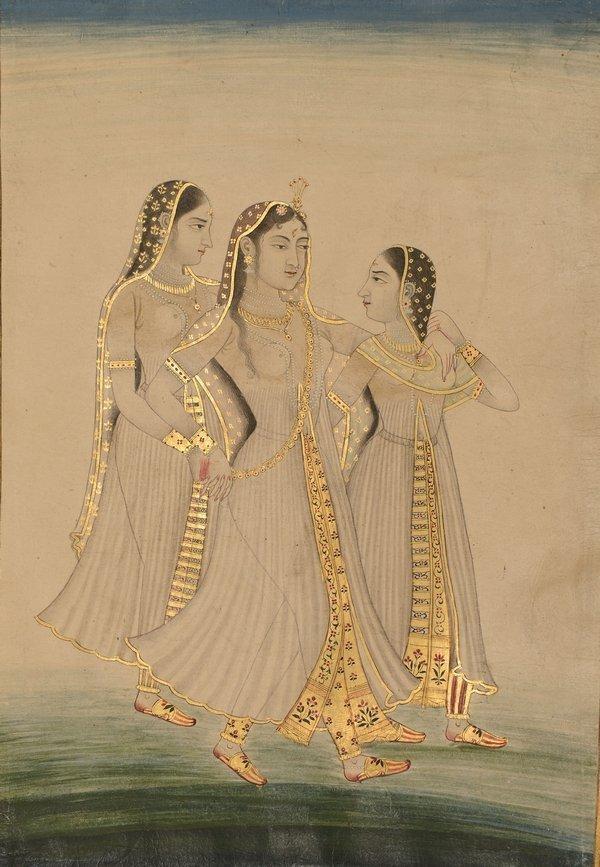 Prinzessin Jahanara Begum Sahib (1614–1681), die älteste Tochter Sha Jahans, mit zwei Begleiterinnen Dekkan-Mogul, spätes 17./frühes 18. Jahrhundert Wasserfarben und Gold, 257 x 199 mm Kupferstich-Kabinett, © SKD Foto: Andreas Diesend