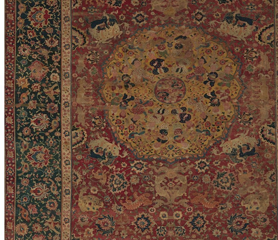 Carpet Second half 16th century Made in present-day Afghanistan, Herat Silk (warp), cotton (weft), wool (pile); asymmetrically knotted pile Rug: H. 99–3/4 in. (253.4 cm) W. 70 in. (177.8 cm) W. of top edge: 68–5/8 in. (174.3 cm) The Metropolitan Museum of Art, Mr. and Mrs. Isaac D. Fletcher Collection, Bequest of Isaac D. Fletcher, 1917 (17.120.127) Image: © The Metropolitan Museum of Art, New York Foto freundlicherweise vom Museum zur Verfügung gestellt
