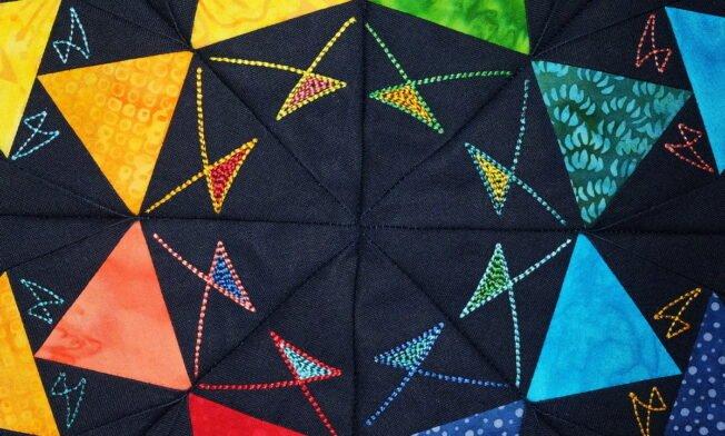 Quilt Medaillion mit Batik - Border1 - Detail Mitte