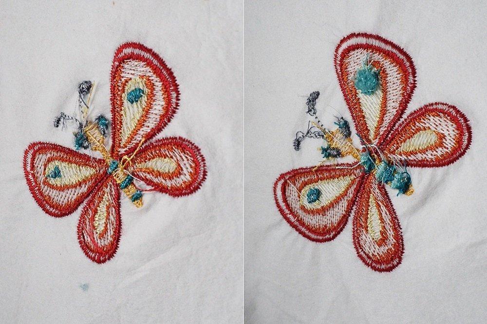 Rückseite: links verkleinert mit reduzierter Stickdichte , rechts verkleinert ohne Verringerung der Stickdichte