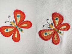 links verkleinert mit reduzierter Stickdichte , rechts verkleinert ohne Verringerung der Stickdichte
