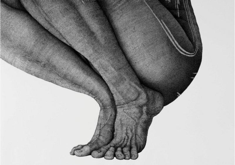 Monika Supé: o.T. Serie Linearität 15 2017 140 x 100 cm Tusche auf Papier Foto freundlicherweise von der Galerie Altes Rathaus Musberg zur Verfügung gestellt