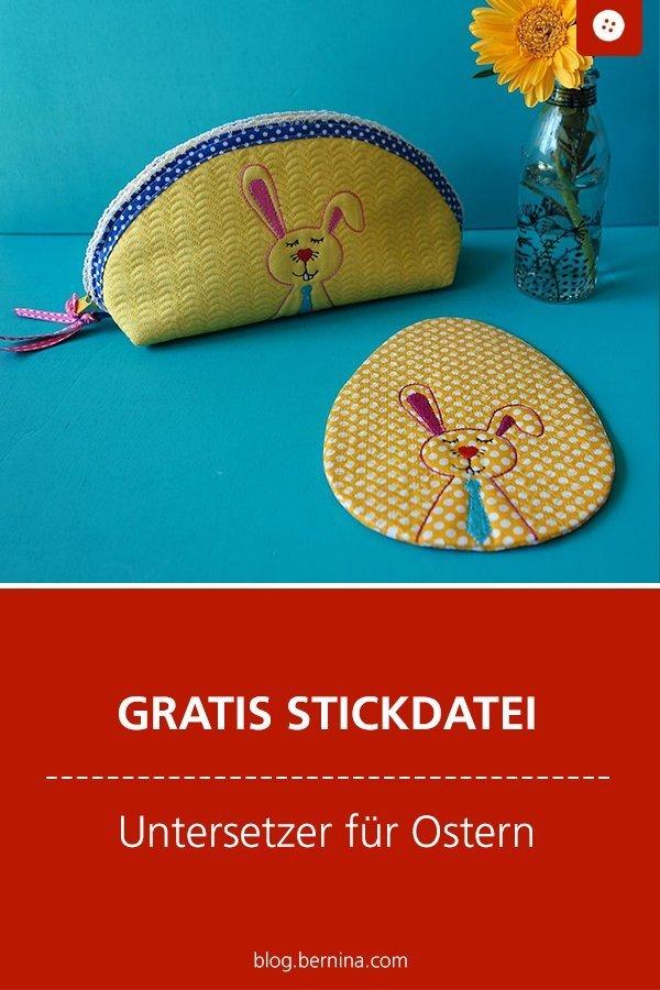 Gratis Stickdatei  – Untersetzer für Ostern (Mug rug)